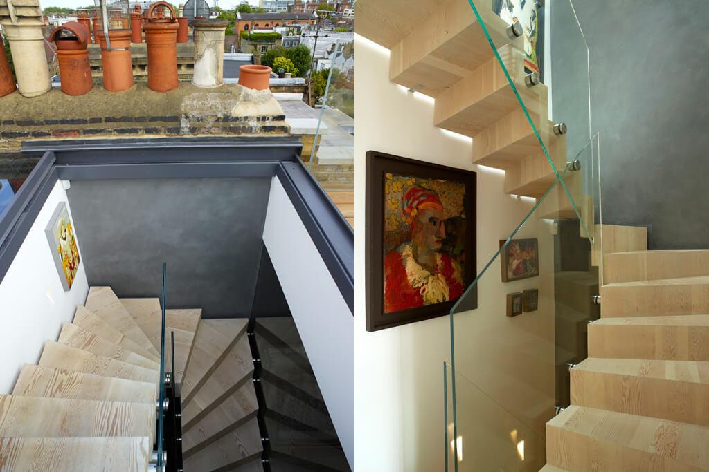 Fenêtre coulissante sans cadre au-dessus d'une cage d'escalier impressionnante