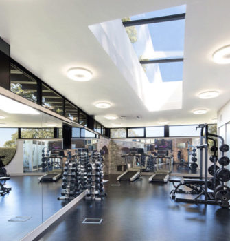 Multipart rooflight in a gym