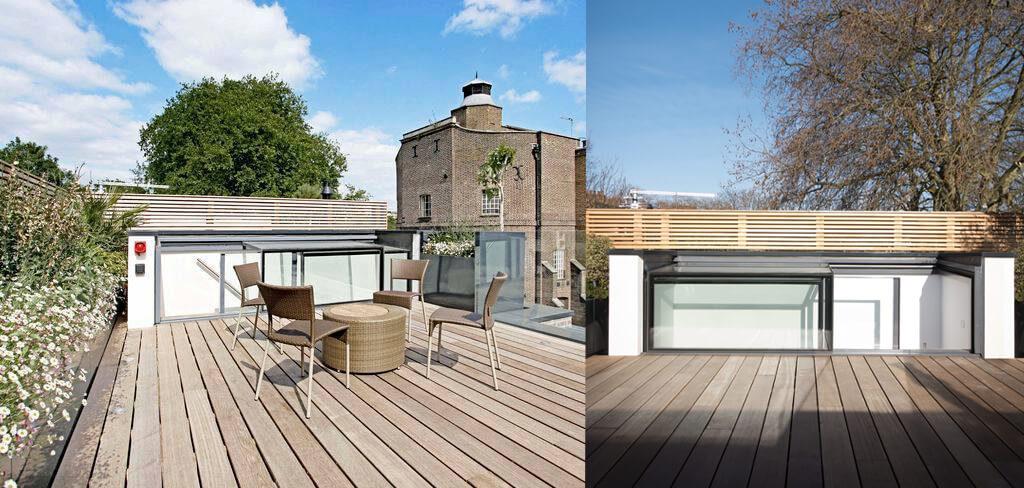 La Three Wall Box a été placée en France sur le côté de la terrasse sur le toit et offre énormément d'espace.
