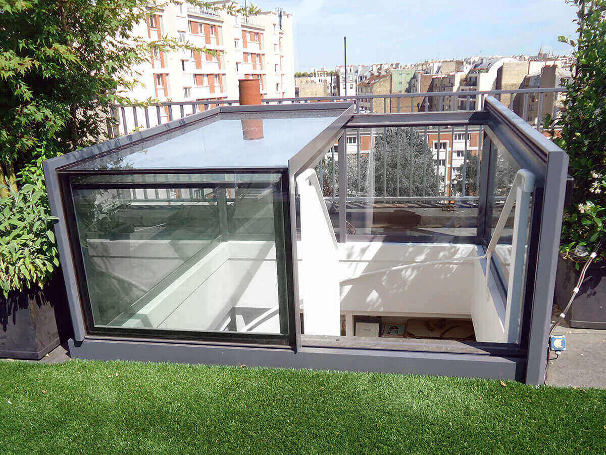 fen te d 39 acc s toiture freestanding box rooflight glazing vision. Black Bedroom Furniture Sets. Home Design Ideas